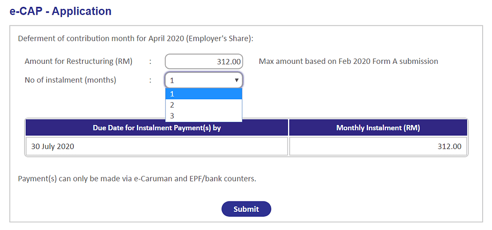 Applying for EPF e-CAP Step 2 choose the number of instalment months